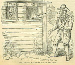 """Virginia in the American Civil War - """"How Virginia Was Voted Out Of The Union"""" -appeared in the northern journal Harpers Weekly, June 15, 1861"""
