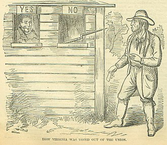 "Virginia in the American Civil War - ""How Virginia Was Voted Out Of The Union"" -appeared in the northern journal Harpers Weekly, June 15, 1861"