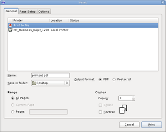 Virtual printer - A GTK+ dialog box for printing to either a virtual printer (to create a PDF or Postscript file) or a physical printer