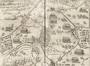 Siege of Rheinberg (1597) - Image: Vogelvlucht van de stad Rijnberk aan de Rijn met versterkingen Siege of Rheinberg in 1597 by Maurice of Orange (Johannes Janssonius, 1651)