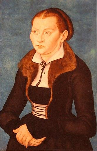 Katharina von Bora - Portrait of Katharina von Bora by Lucas Cranach the Elder, 1528 Oil on panel
