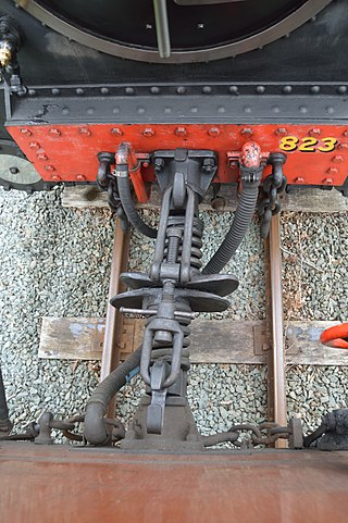 The Grondana coupling now used on the railway, with a centre buffer and screw coupling link WLLR 2, coupling.jpg