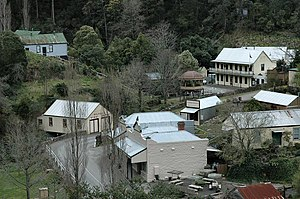 Walhalla, Victoria - View of part of Walhalla, showing mainly reconstructed buildings, including the Star Hotel/Oddfellows Hall and several original structures including the band rotunda, Corner Stores and Masonic Lodge.