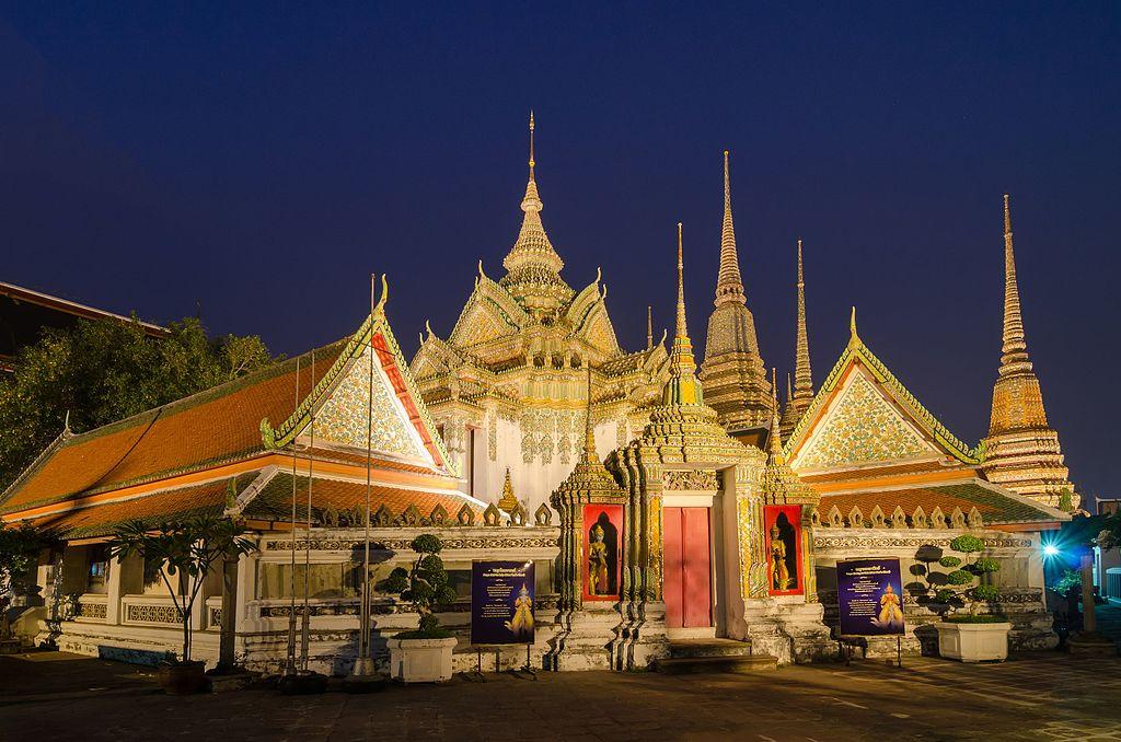 L'impressionnant temple de Wat Pho dans le centre historique de Bangkok.