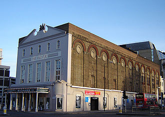 Waterloo Road, London - The Old Vic Theatre from the corner of Baylis Road and Waterloo Road.