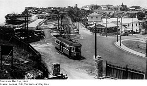 Watsons Bay, New South Wales - Former tram terminus, Gap Park, c1949