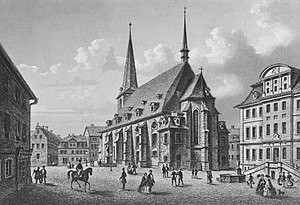 St. Peter und Paul, Weimar - Herderplatz from the southeast, steel engraving by L. Oeder, c.1840)