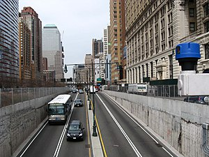 Battery Park Underpass - Western portal at the West Side Highway