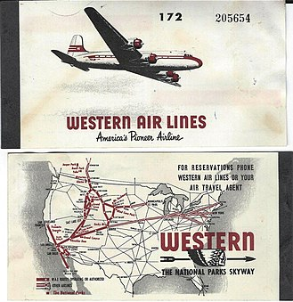 Western Airlines - Front and back covers of a ticket book from 1948
