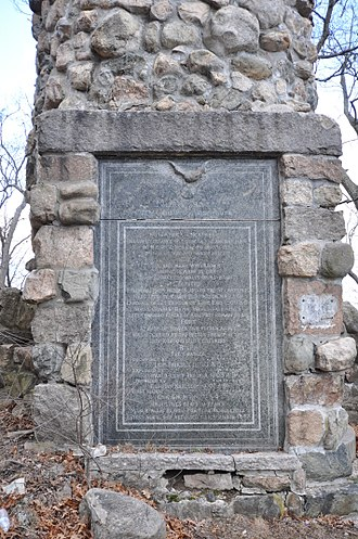 Norumbega Tower - Closeup view of the plaque at the base of the tower