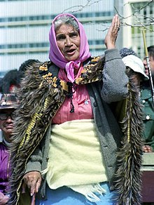 Whina Cooper addressing the Māori Land March at Hamilton in 1975
