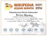 Wikipedia Asia Month Ambassador (2016)Pusselbiten av guld (2017)