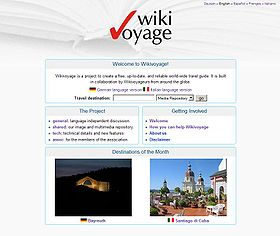 Screenshot of Wikivoyage's portal