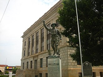"Wilbarger County, Texas - ""Wilbarger County Remembers"", says the veteran's memorial at the courthouse."