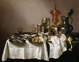 Willem Claesz. Heda - Still life with oysters, a rummer, a lemon and a silver bowl (1634), oil on canvas, Rijksmuseum, Amsterdam