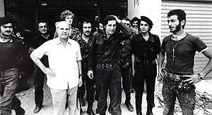 Kataeb Regulatory Forces - William Hawi with KRF junior commander Amine Gemayel at Tel al-Zaatar, 1976.