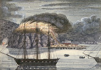 Edward Belcher - H M S North Star destroying Pomare's Pā, 1845. Painting by John Williams.