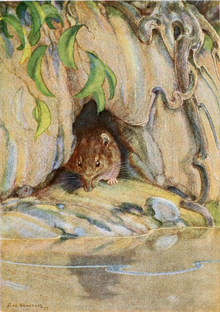 The Rat sits on the river bank, near the dark hole just above the flood level, his eyes caught looking at the water's edge.Drawn by Paul Bransom.