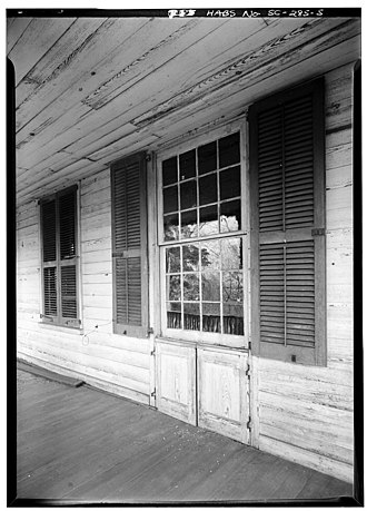 Pendleton, South Carolina - Detail of window with hinged panels, Woodburn Plantation