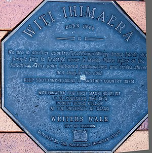 Witi Ihimaera - Image: Witi Ihimaera memorial plaque in Dunedin