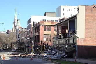 2010 Canterbury earthquake - Building damage in Worcester Street, corner Manchester Street, with Christchurch Cathedral in the background
