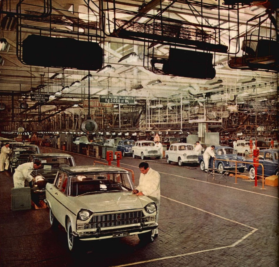 Workers in Fiat factories, Turin