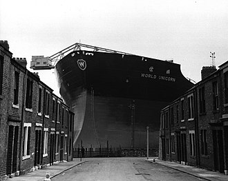 Wallsend - World Unicorn being built by Swan Hunter at the Wallsend shipyard, Tyneside in 1973.