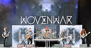 Wovenwar - Wovenwar live in August 2014. From left to right: Phil Sgrosso, Shane Blay, Jordan Mancino, Josh Gilbert and Nick Hipa