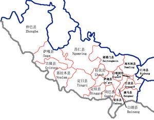 Namling County - Image: Xigaze Counties