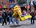 Yellow lion dance costume in New York City, New York, USA - 20060129.jpg