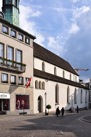 Augustinerkloster Zürich - The northerly portal of the Augustiner church building at the Münzplatz square