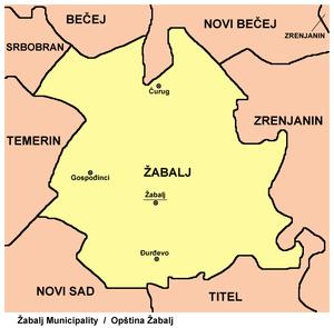 Žabalj - Map of Žabalj municipality