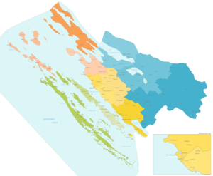Roman Catholic Archdiocese of Zadar - Map of deaneries and parishes