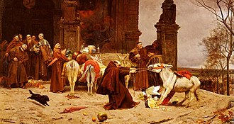 Schadenfreude - Return to the Convent, by Eduardo Zamacois y Zabala, 1868. Note the group of monks laughing while the lone monk struggles with the donkey.
