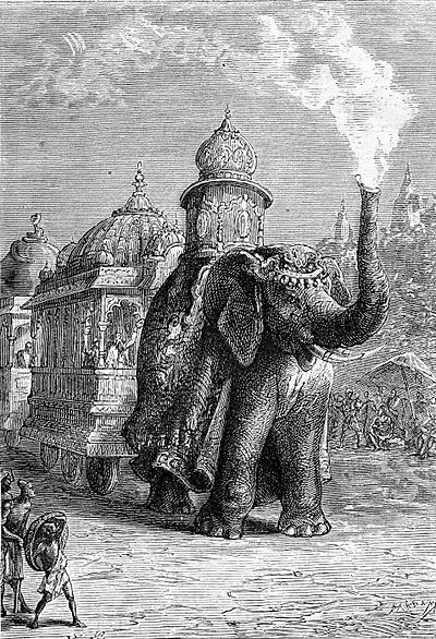 A fictional steam car shaped like an elephant, roaming British-ruled India in Jules Verne's novel &quotThe Steam House&quot (illustration by Léon Benett). - Steam car