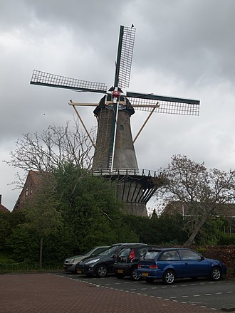 's-Gravendeel - Image: 's Gravendeel, korenmolen het Vliegend Hert RM17406 foto 3 2014 04 14 17.10