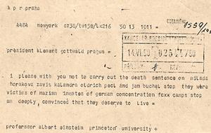 Milada Horáková - Telegram from Albert Einstein appealing for clemency for the accused