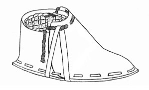 Footwear - An artist's impression of Ötzi's right shoe. Ötzi is a male mummy found in the Austrian Alps in September 1991 in remarkably well-preserved condition.