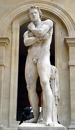 "Σπάρτακος Spartacus,Espartaco marble statue in Louvre ""Μαιδοι clan -Meadow"" slave macedon-greek.jpg"