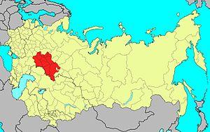 Volga Military District - Boundaries of the Volga Military District (in red) on 1 January 1989