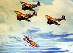 """Over the Nest,"" Grumman F3F-2 fighters over aircraft carrier, artwork by Charles H. Hubbell. (39334684614).jpg"