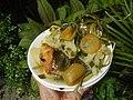 0099Nilagang repolyo, petsay Tagalog, kamote, patatas, kamatis at Pritong Dalag (Bulig) sa tanglad 39.jpg