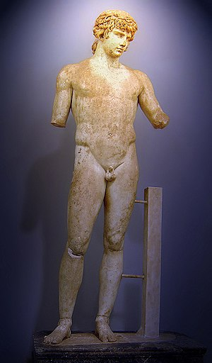 Parian marble - Statue of Antinous (Delphi), polychrome Parian marble, made during the reign of Hadrian (r. 117–138 AD)