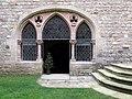 070 Castell de Santa Florentina (Canet de Mar), pati, entrada a la cripta de la capella.JPG