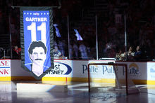 Mike Gartner had his jersey retired by the Washington Capitals in 2008. The banner  shown here has since been replaced. 894e66d68