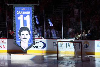 Mike Gartner - Mike Gartner had his jersey retired by the Washington Capitals in 2008. The banner shown here has since been replaced.