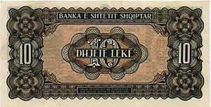 Albanian lek - Image: 10 Lek Albania (1947) R