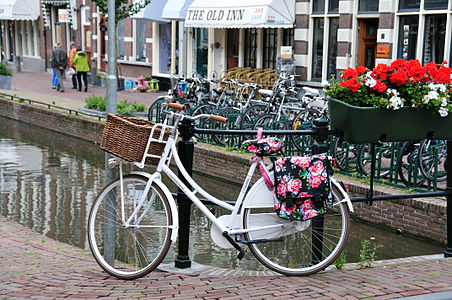 Dutch Omafiets, roadster of classic design in Gouda, Netherlands.