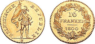 Switzerland in the Napoleonic era - 16 Frank coin issued by the Helvetic Republic, this represents the first national coinage of Switzerland.