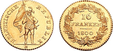 16 Frank coin issued by the Helvetic Republic, this represents the first national coinage of Switzerland. 16 Franken 1800 HR 681735.jpg